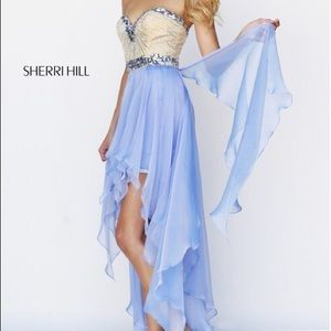 Sherri Hill-Light blue high-low prom dress,Size 6